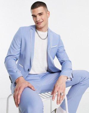 Светло-голубой приталенный пиджак Livingston Twisted Tailor