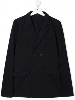 Двубортный пиджак Emporio Armani Kids. Цвет: синий