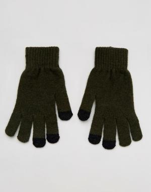 Перчатки цвета хаки для сенсорных гаджетов с добавлением овечьей шерсти ASOS DESIGN. Цвет: зеленый
