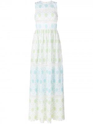 Вязаное крючком платье с цветами Huishan Zhang. Цвет: разноцветный