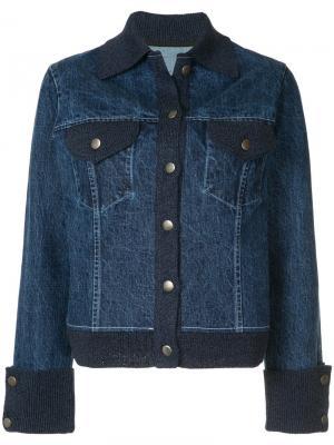 Джинсовая куртка с вязаными вставками Onefifteen. Цвет: синий