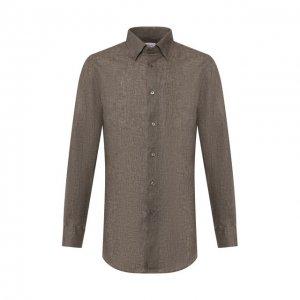 Льняная рубашка Brioni. Цвет: хаки