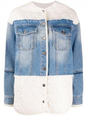 Джинсовая куртка с дутыми вставками SJYP. Цвет: синий