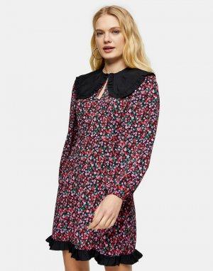 Разноцветное чайное платье мини с большим воротником -Многоцветный Topshop