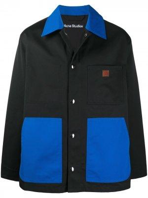 Куртка-рубашка в двух тонах Acne Studios. Цвет: черный