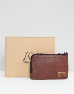 Коричневый кожаный бумажник на молнии Quicksilver Quiksilver. Цвет: коричневый