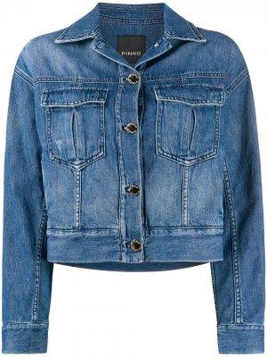 Укороченная джинсовая куртка Pinko. Цвет: синий