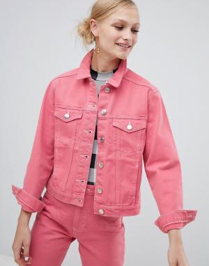 Розовая джинсовая куртка Monki. Цвет: розовый