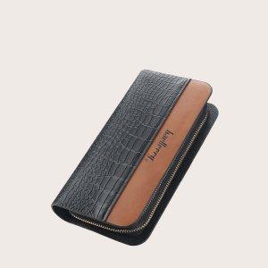 Мужской кошелек с крокодиловым тиснением на молнии SHEIN. Цвет: чёрный