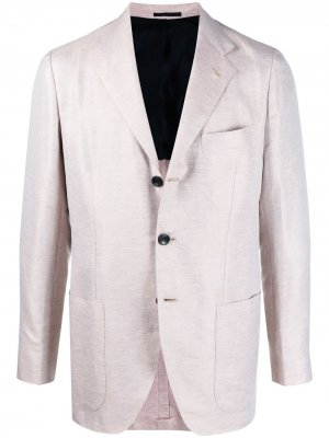 Однобортный пиджак с заостренными лацканами Kiton. Цвет: нейтральные цвета