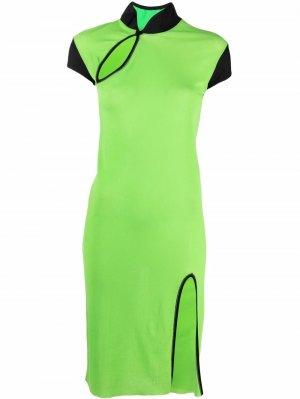 Платье 2000-х годов с разрезом Jean Paul Gaultier Pre-Owned. Цвет: зеленый