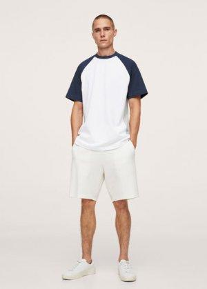 Хлопковая футболка с цветовыми блоками - Roqueta Mango. Цвет: белый