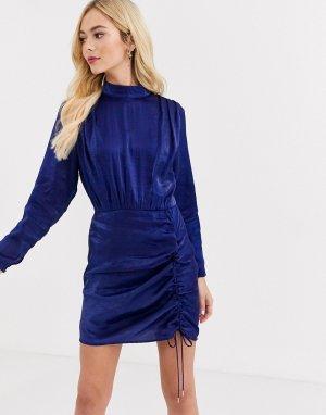 Темно-синее атласное платье со сборками и длинными рукавами -Голубой Finders Keepers