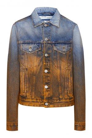 Двухцветная джинсовая куртка Off-white. Цвет: голубой