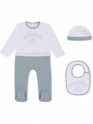 Пижамный комплект с логотипом Dolce & Gabbana Kids. Цвет: синий
