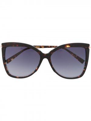 Солнцезащитные очки в оправе кошачий глаз черепаховой расцветки Max Mara. Цвет: коричневый