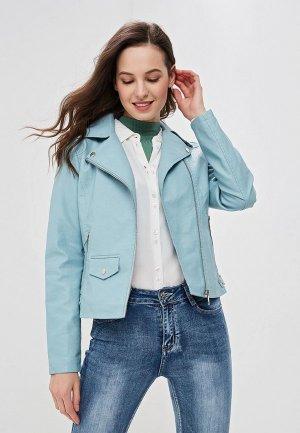 Куртка кожаная Adrixx. Цвет: голубой