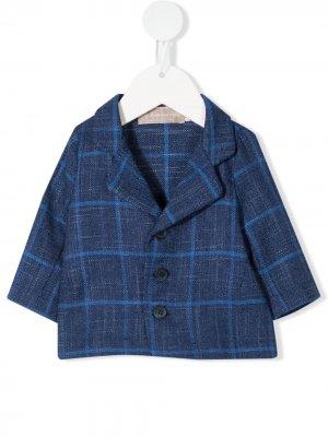 Клетчатый пиджак на пуговицах La Stupenderia. Цвет: синий