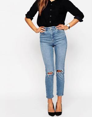 Узкие джинсы в винтажном стиле с завышенной талией и дырками на коленях Farleigh ASOS DESIGN. Цвет: синий