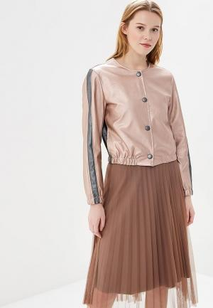 Куртка кожаная Rinascimento. Цвет: розовый