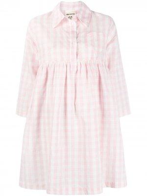 Платье-рубашка мини в клетку гингем Semicouture. Цвет: розовый
