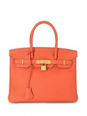 Сумка Birkin 30 pre-owned Hermès. Цвет: оранжевый