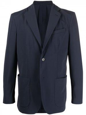 Однобортный пиджак с заостренными лацканами Traiano Milano. Цвет: синий