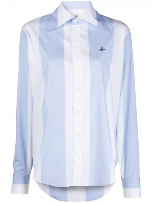 Рубашка в полоску с вышитыми логотипом Vivienne Westwood. Цвет: синий