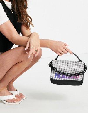 Черная сумочка-портфель с клапаном в мелкую клетку спереди -Черный цвет House of Holland