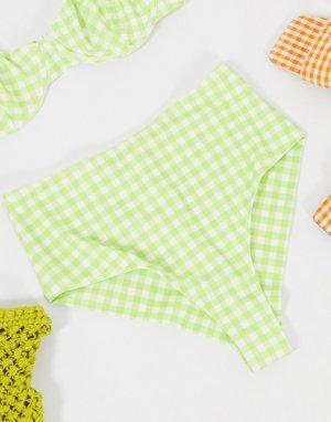 Шалфейно-зеленые трусы бикини из переработанного полиэстера -Зеленый Monki