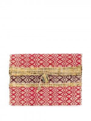 Большой плетеный клатч Forte. Цвет: нейтральные цвета
