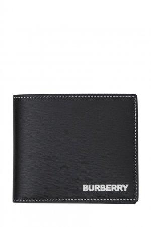 Черный кожаный бумажник с декоративной отстрочкой Burberry. Цвет: черный