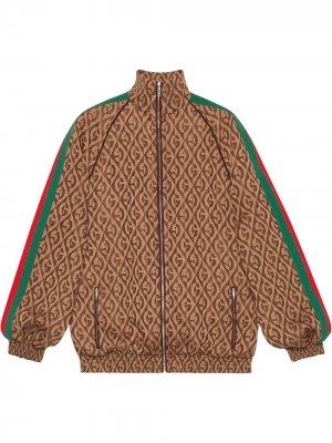 Куртка-бомбер с узором G Rhombus Gucci. Цвет: коричневый