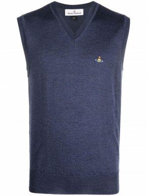 Шерстяной жилет с вышивкой Orb Vivienne Westwood. Цвет: синий