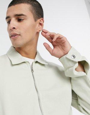 Белая джинсовая куртка -Зеленый ASOS DESIGN