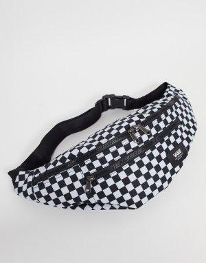 Черно-белая сумка-кошелек на пояс в шахматную клетку Ward Cross-Черный цвет Vans