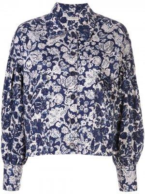 Джинсовая куртка с цветочным принтом Ulla Johnson. Цвет: синий