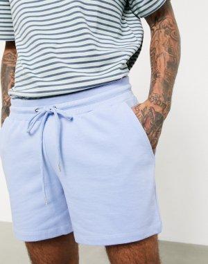 Голубые узкие трикотажные шорты -Фиолетовый ASOS DESIGN