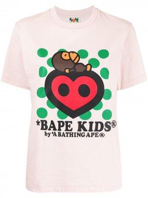 Bape Kids heart T-shirt A BATHING APE®. Цвет: розовый