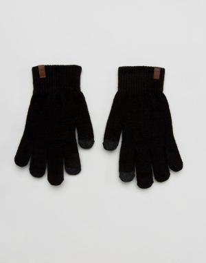 Черные трикотажные перчатки для сенсорных гаджетов Magic Timberland. Цвет: черный