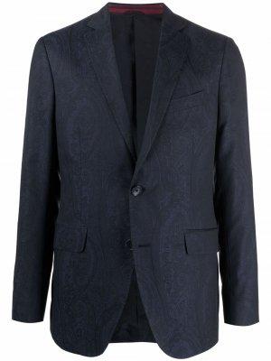 Однобортный пиджак с узором пейсли ETRO. Цвет: синий