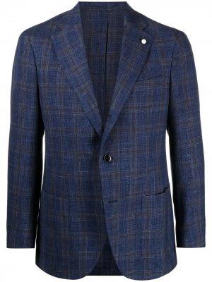 Однобортный пиджак в клетку LUIGI BIANCHI MANTOVA. Цвет: синий