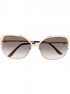 Солнцезащитные очки в массивной квадратной оправе Cartier Eyewear. Цвет: золотистый