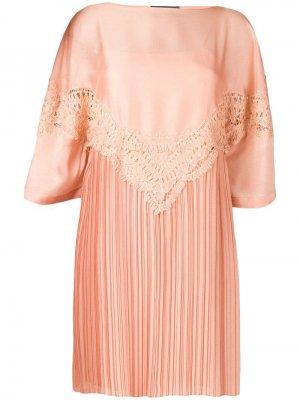 Плиссированное платье с вышивкой Alberta Ferretti