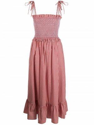 Присборенное платье в клетку гингем Kate Spade. Цвет: красный