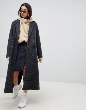 Удлиненное шерстяное пальто в клетку Weekday. Цвет: мульти