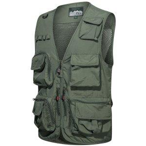 Мужской Жилет с карманами на молнии SHEIN. Цвет: армейский зеленый