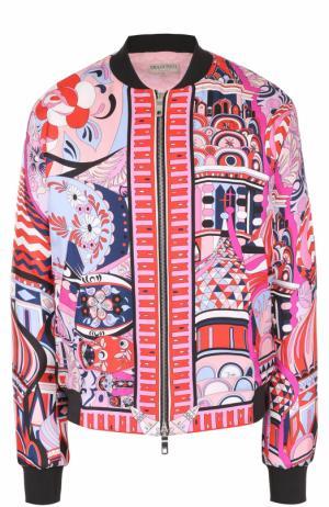 Шелковый бомбер на молнии с ярким принтом Emilio Pucci. Цвет: фиолетовый