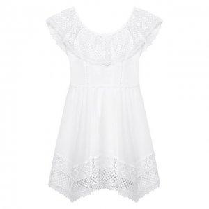 Хлопковое платье Charo Ruiz Ibiza. Цвет: белый
