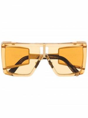 Солнцезащитные очки Wonder Boy II в массивной оправе Balmain Eyewear. Цвет: золотистый